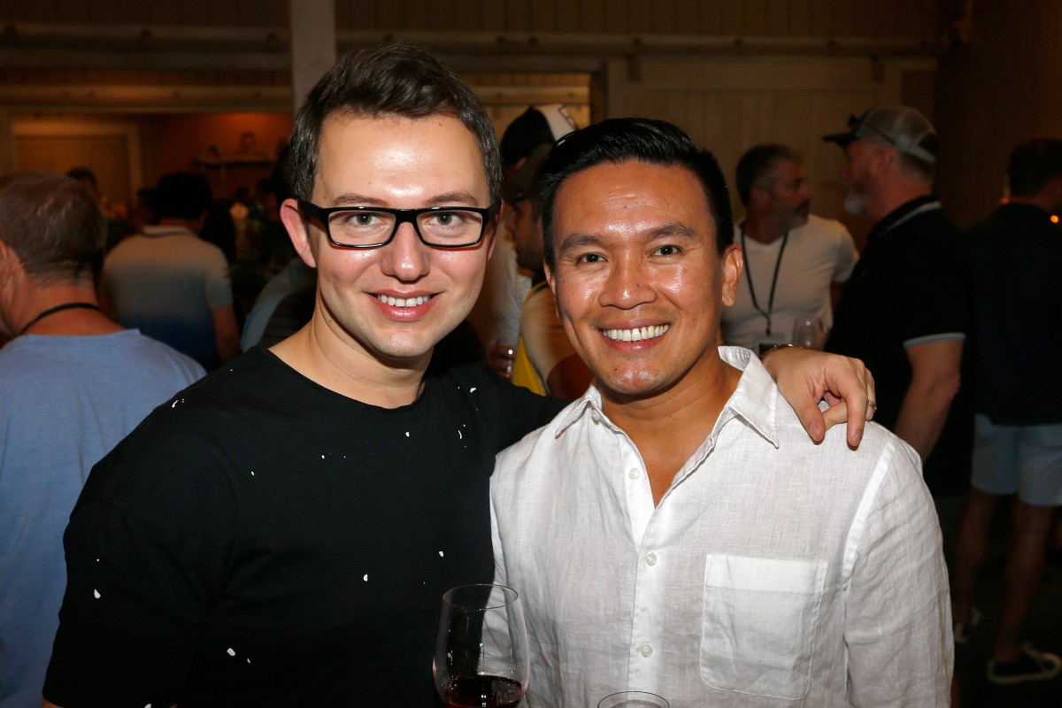 nthony and Maksim Villanueva attend their first Gay Wine Weekend, during the welcome reception at MacArthur Place in Sonoma.