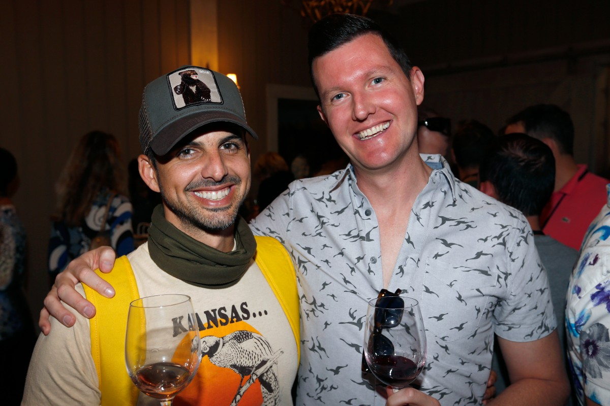 Juan Roth, left, and David Corbell attend the Gay Wine Weekend welcome reception at MacArthur Place in Sonoma.