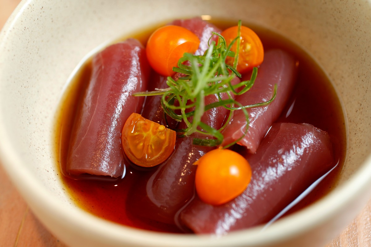 ellowfin tuna crudo with soba dashi and sungold tomatoes at Miminashi, a Japanese izakaya, in Napa, California on Tuesday, August 30, 2016. (Alvin Jornada / The Press Democrat) Miminashi Alvin Jornada