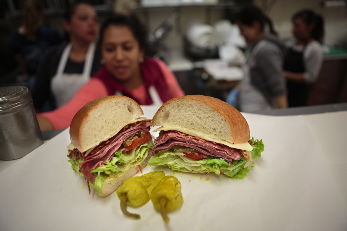 Pastrami sandwich from Broadway Market in Sonoma Food shots for Cheap Eats section Chris Hardy