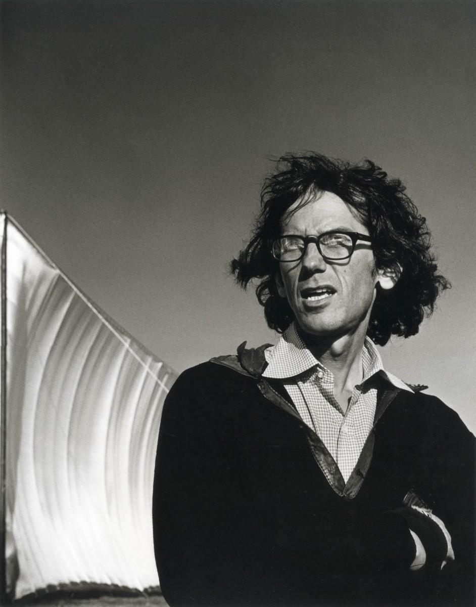 Christo standing by a section of the Running Fence. (Photo by Morrie Camhi, renowned Sonoma County environmental portraitist)