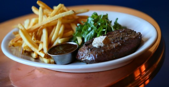 Flat Iron Steak Frites at Underwood Bar and Bistro, in Graton. (Christopher Chung