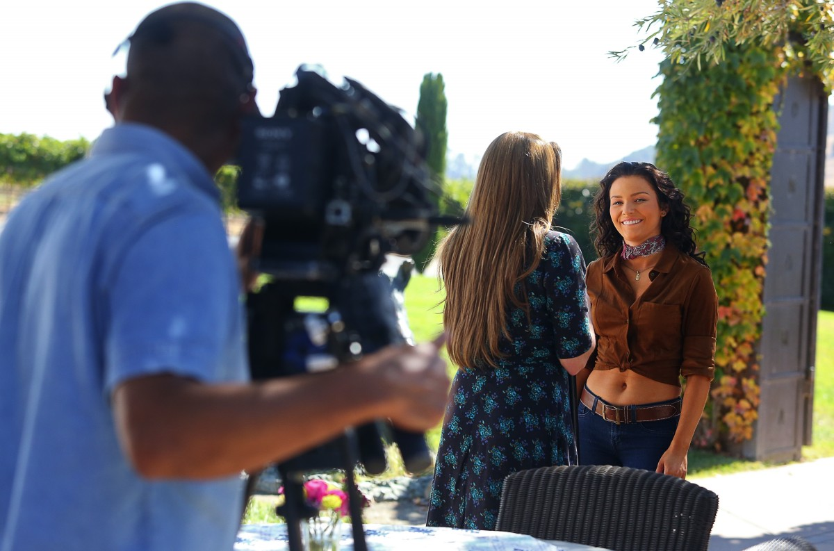 Actors Irina Baeva, right, and Cynthia Klitbo film a scene for the telenovela Vino El Amor, at Viansa Sonoma winery, near Sonoma, on Thursday, September 29, 2016. The show is set to air on October 24, on Univision. (Christopher Chung/ The Press Democrat)