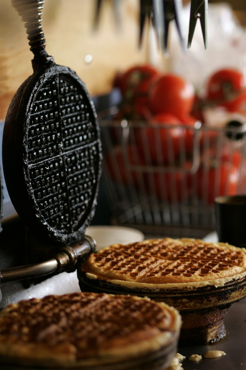 Two toasted pecan waffle finish cooking at the Water Street Bistro in Petaluma. Shot on Thursday, December 28, 2006 for Spring Savor magazine. ( Press Democrat / Charlie Gesell ) Charlie Gesell