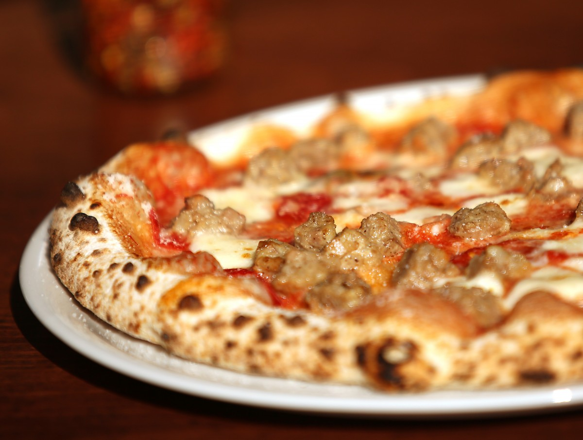 Meatball Parm pizza served at Vignette at The Barlow in Sebastopol, Tuesday, September 16, 2014. (