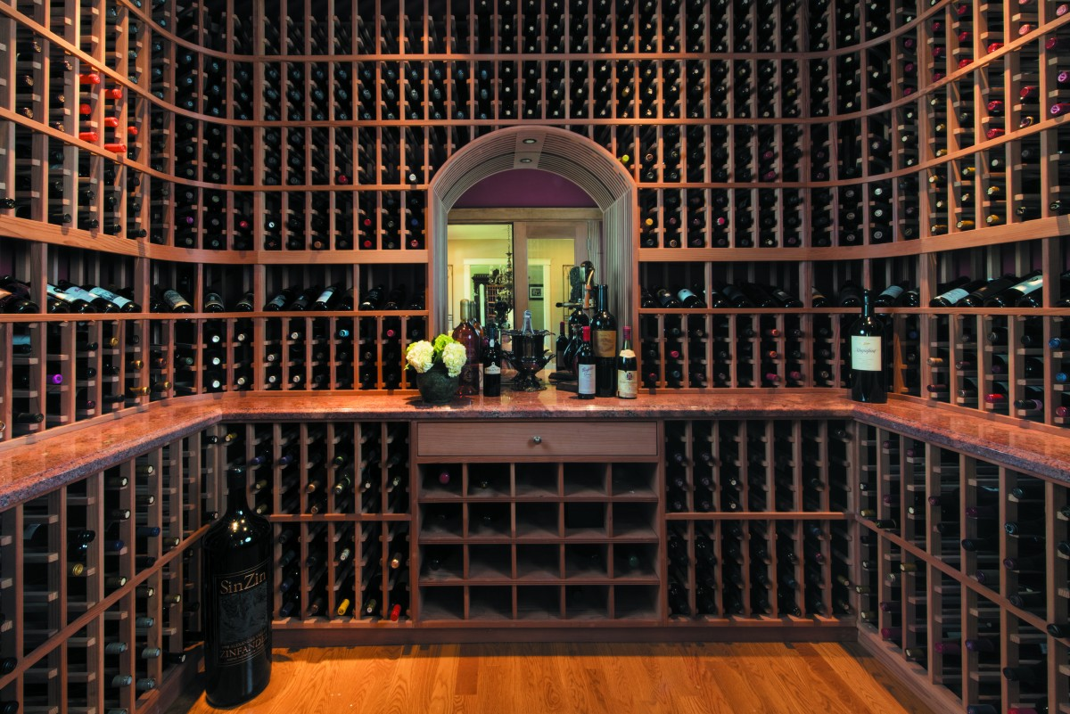 Conrad and Carolyn Trinks' 1,500-bottle-capacity wine room.