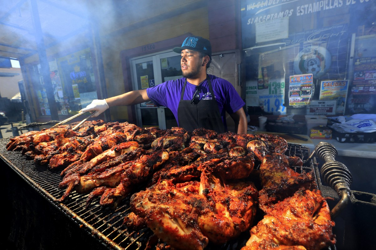 ose Ojeda grills 400 chickens per weekend at El Brinquito Market & Meat in Sonoma. (JOHN BURGESS / The Press Democrat)