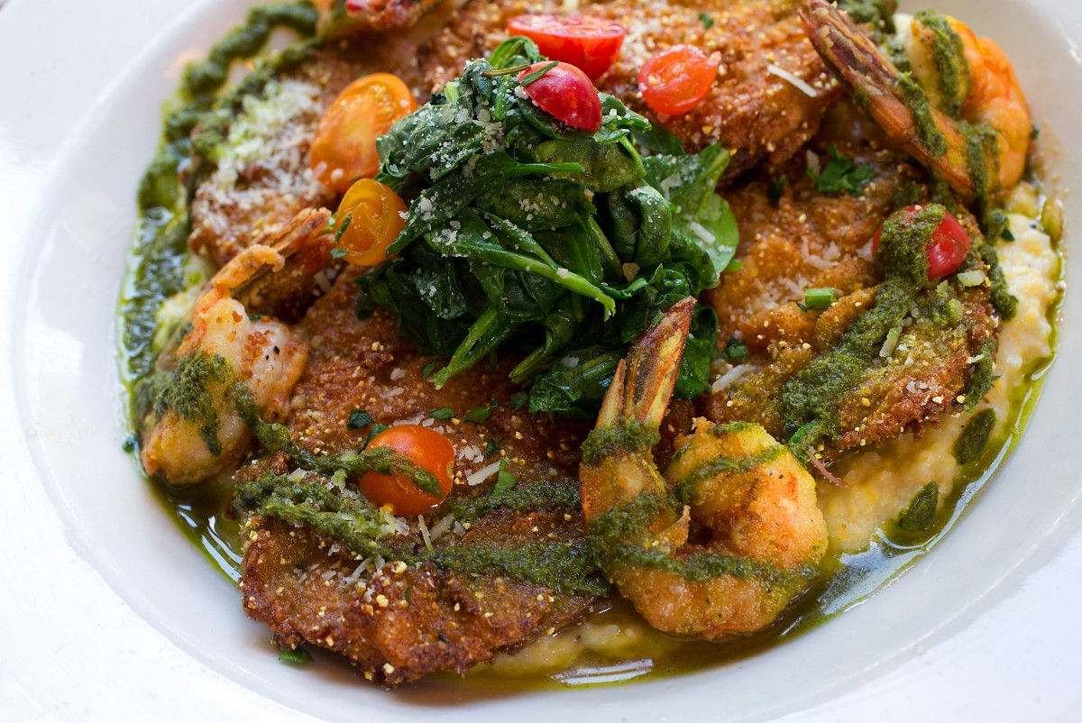 Fried green tomatoes on South Carolina grits, grilled corn, spinach, parmesan, pistou and prawns from the Fork Roadhouse on Bodega Ave. east of Sebastopol. (JOHN BURGESS/The Press Democrat)