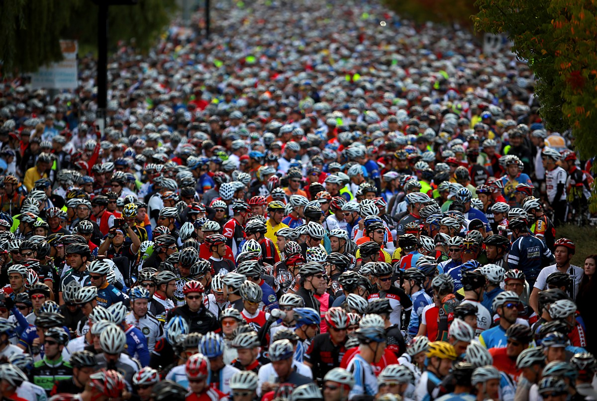 7500 bicycle riders crowd the start of Levi Leipheimers King Ridge Gran Fondo, Saturday Oct. 1, 2011 at Finley Park in Santa Rosa. (Kent Porter / Press Democrat) 2011 Kent Porter