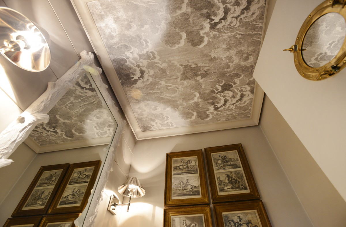 The Powder Room with its decorative ceiling at the Healdsburg home of interior designer Benjamin Dhong.