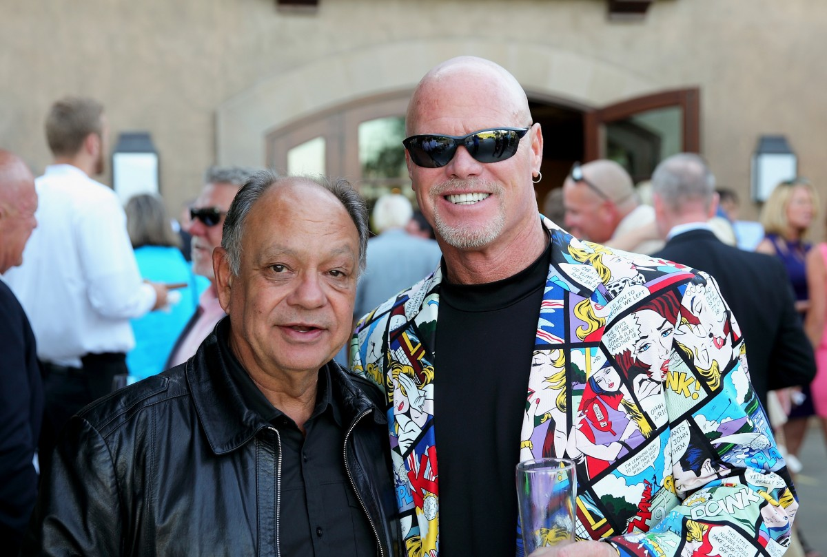 Actor Cheech Marin, left, with two-time Super Bowl champ Jim McMahon at the 2016 Schulz Celebrity Golf Classic at Mayacama Golf Club in Santa Rosa. MUST CREDIT: Photo by Justin Warmack