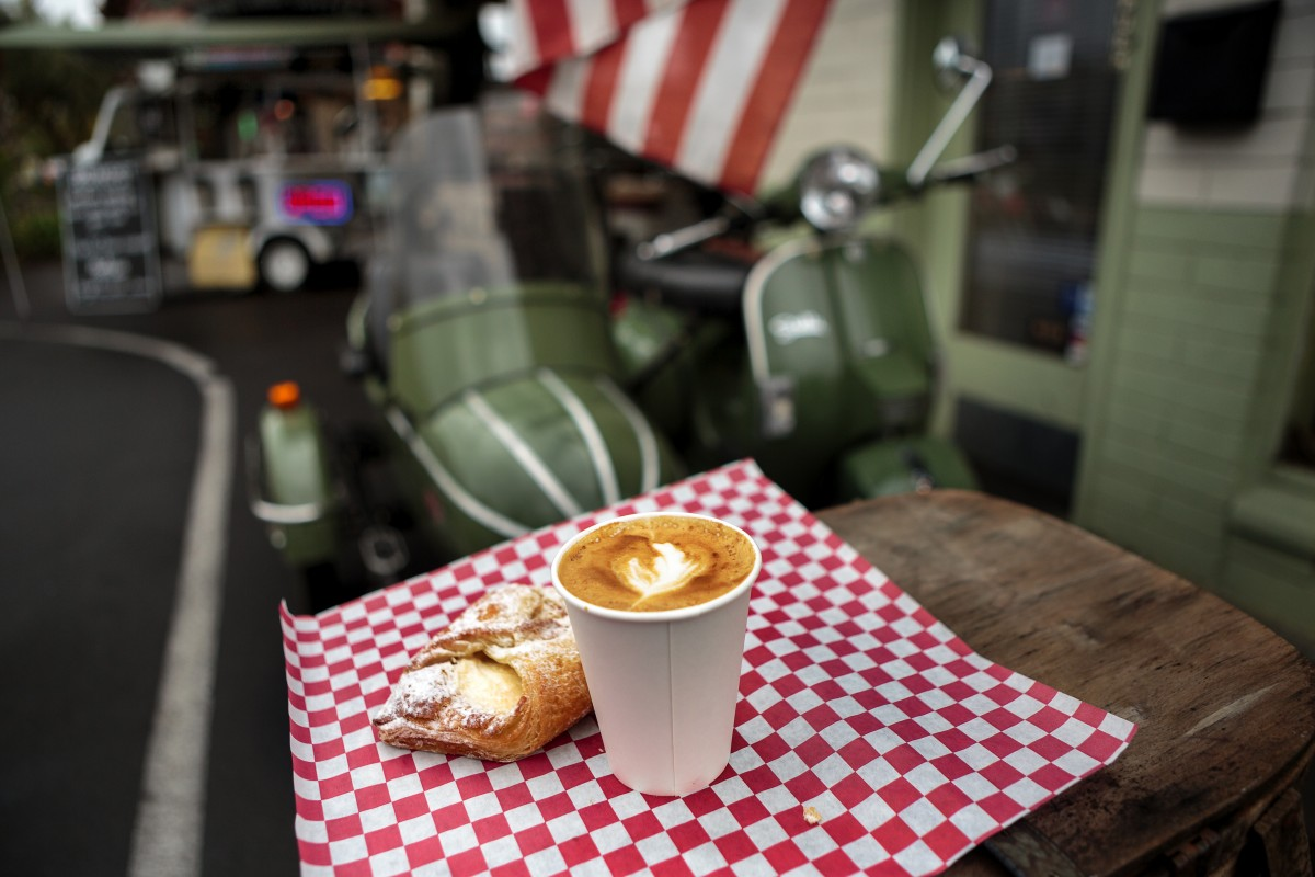 Latte and pastry from Scooteria in Sonoma Food shots for Cheap Eats section Chris Hardy