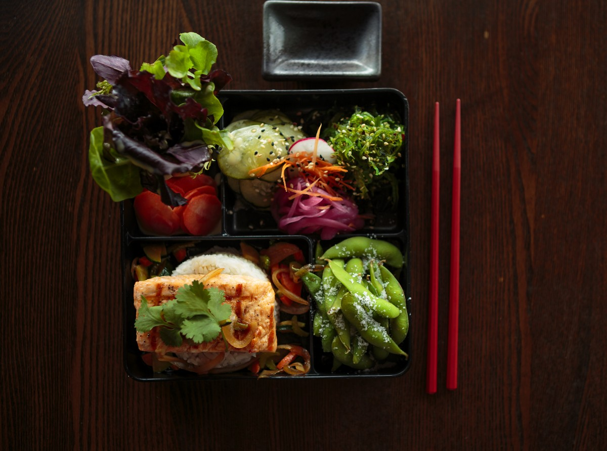 Salmon and edamame bento box from Shiso in Sonoma. (Photo by Chris Hardy)