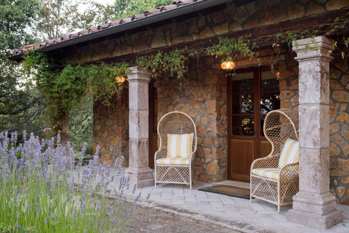 Sitting area outside guest cottage.