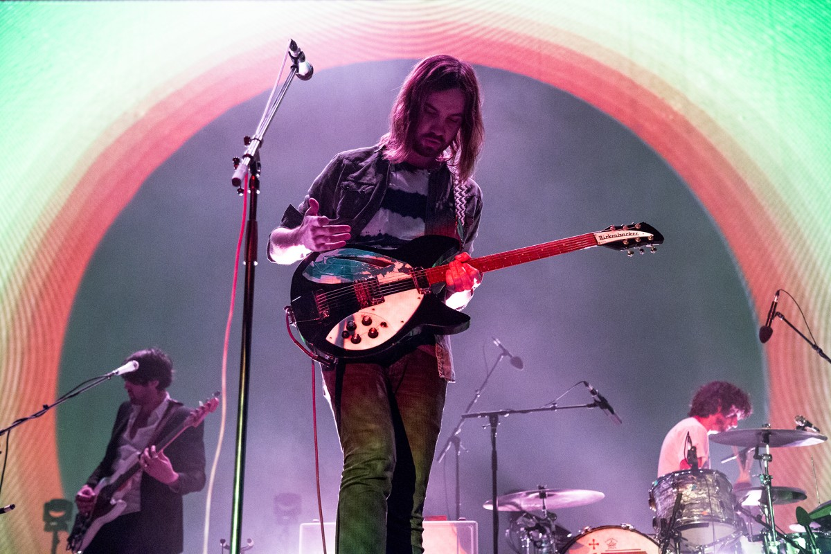 Tame Impala frontman Kevin Parker on stage at the Greek Theatre in Berkeley.