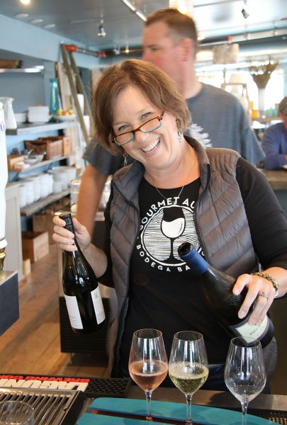 Sissy Blanchard (husband Bob in the background) at Gourmet Au Bay in Bodega Bay, California. Heather Irwin/PD