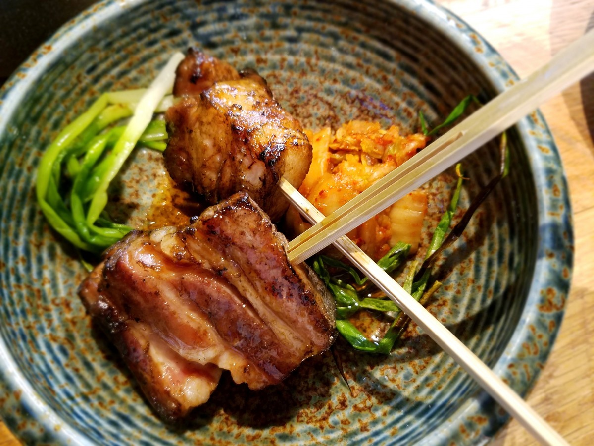 Pork belly yakitori with kimchee at Two Birds/One Stone in St. Helena. (Photo by Heather Irwin)