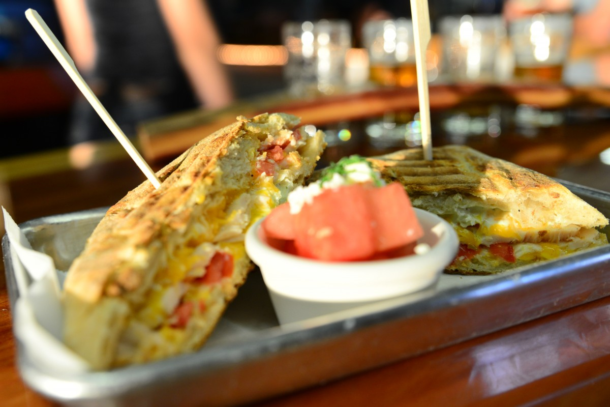 Turkey panini and watermelon salad at Grav South Brew Co. (Photo by Tim Vallery)