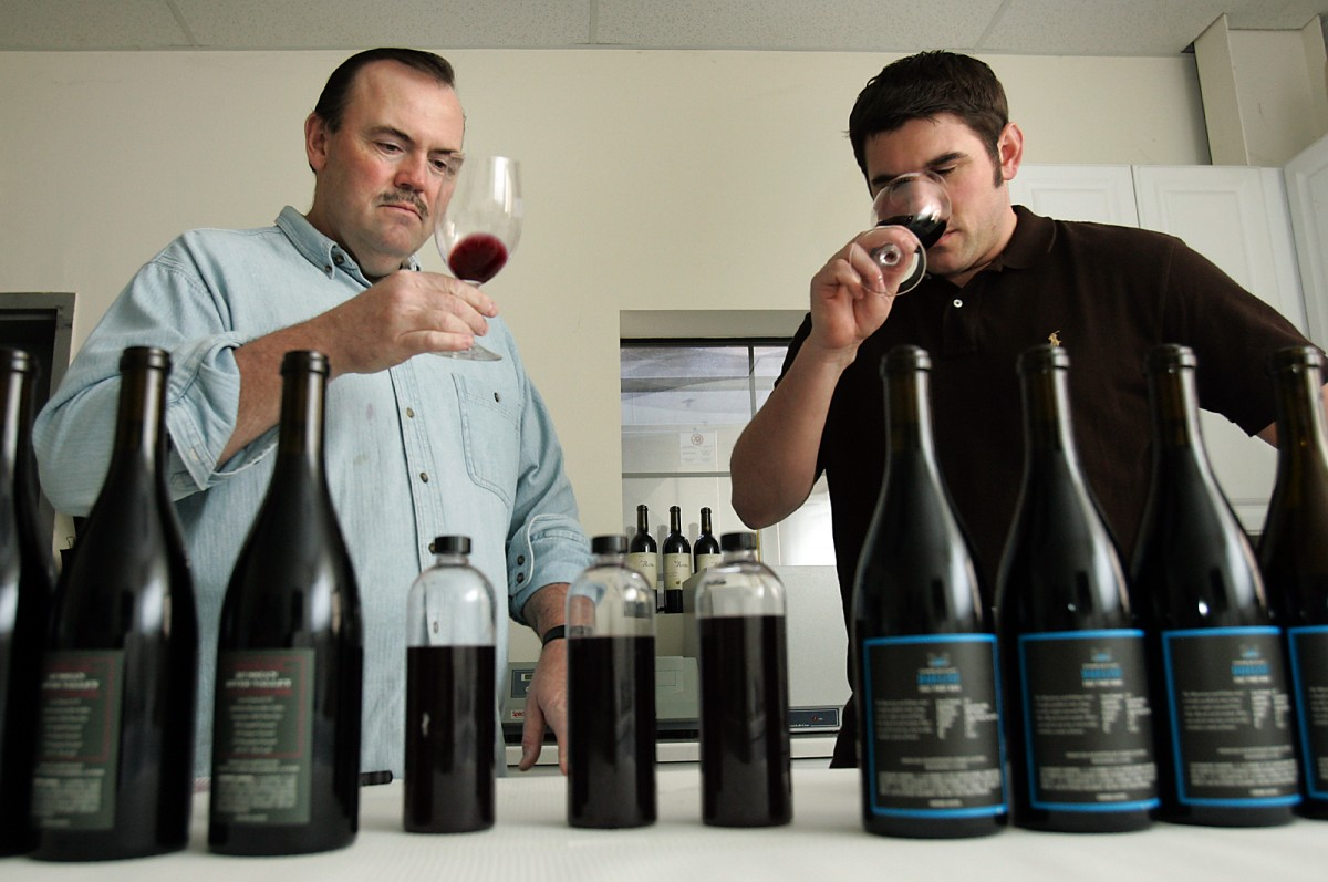 estauranteur Charlie Palmer, left, tastes pinot blends with Clay Mauritson, the winemaker teaming up with Palmer, at the Mauritson Winery in the Dry Creek Valley.