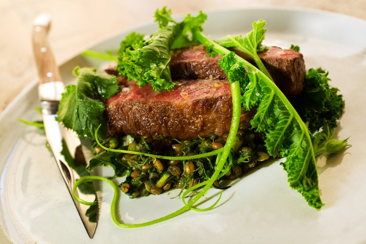 Steak and kale from Revival at the Applewood Inn. (John Burgess/The Press Democrat) John Burgess