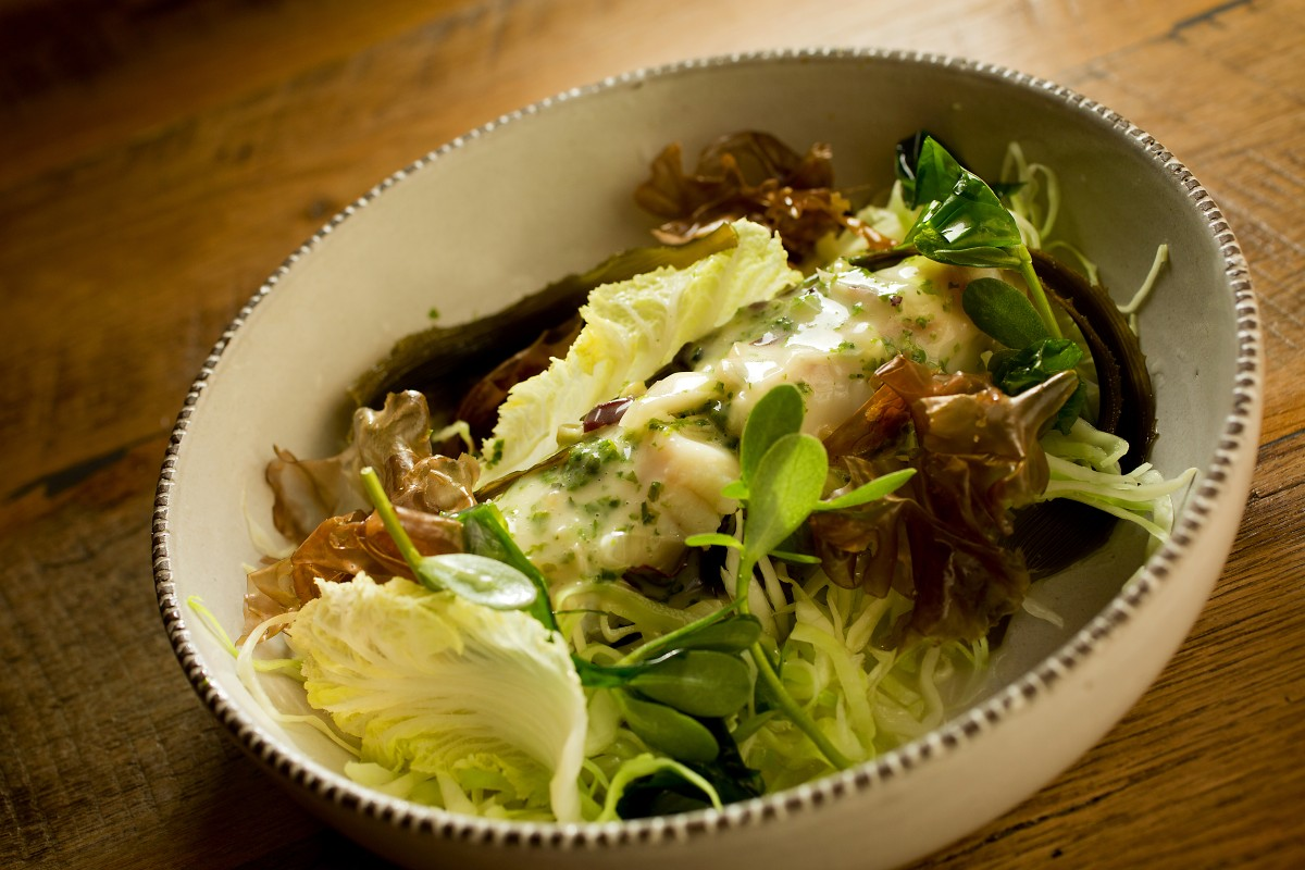 Halibut with Sea Lettuces from Revival at the Applewood Inn. (John Burgess/The Press Democrat) John Burgess