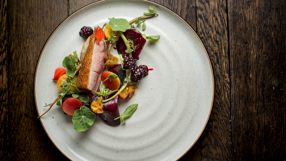 Duck with nasturtium at Revival Restaurant at the Applewood Inn