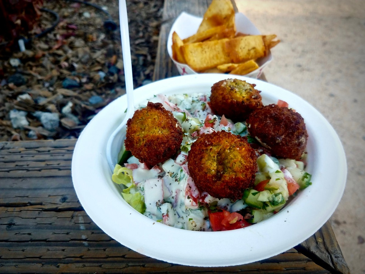 Falafel and pita chips from Falafel Fix at the Cloverdale Certified Farmers Market. (Photo by Chelsea Kurnick)