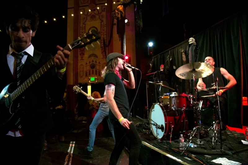 AC/DC cover band at Halloween Cover Show at The Phoenix Theater in Petaluma. (Photo by Estefany Gonzalez)