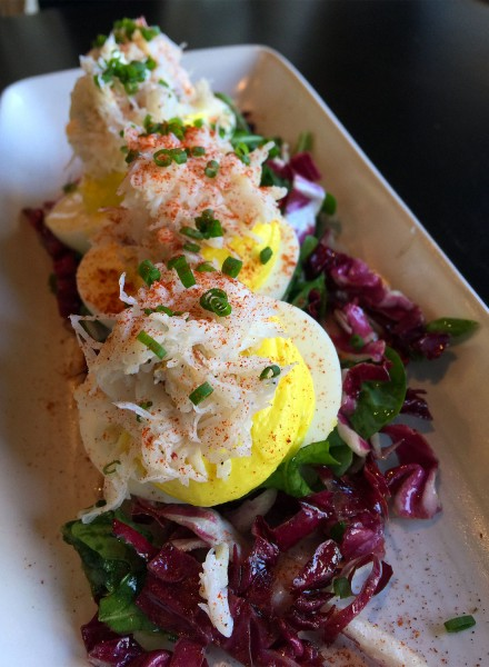 Deviled eggs with crab at Oso Restaurant in Sonoma. Heather Irwin/PD