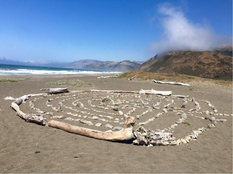 A visitor to Humboldt County's Lost Coast left this driftwood maze for others to enjoy. (Virginia Mason / For The Press Democrat)