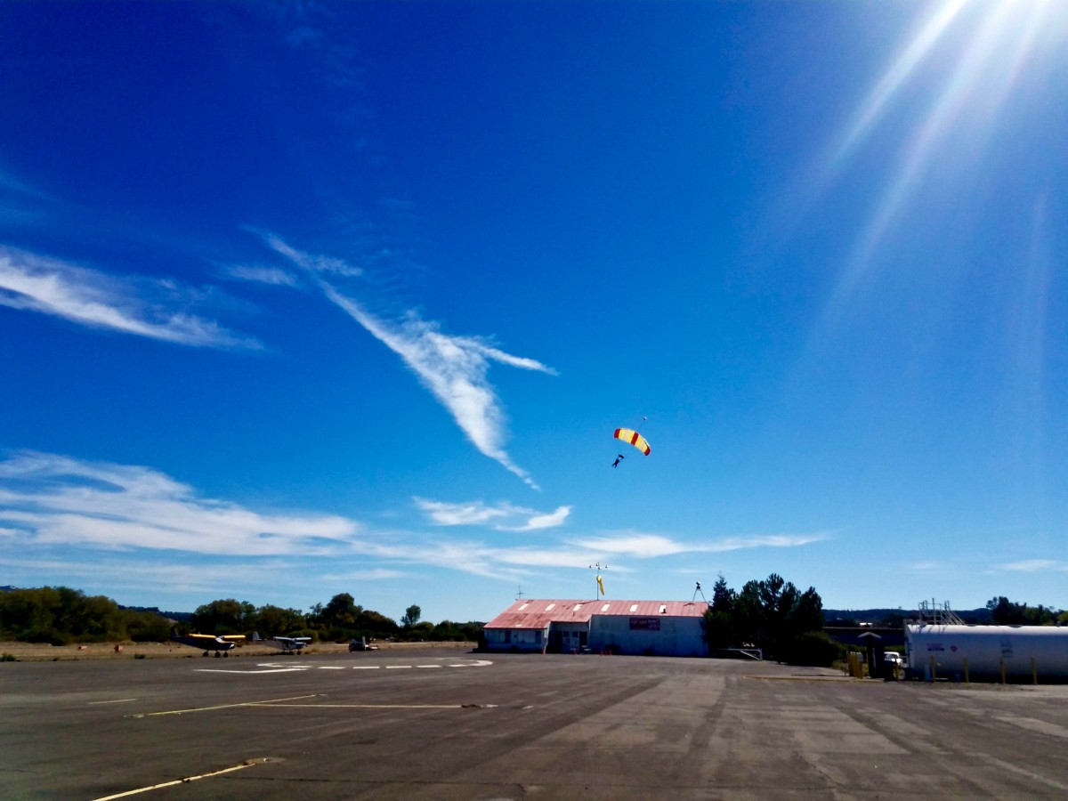 NorCal Skydiver landing at Cloverdale Municipal Airport. (Photo by Chelsea Kurnick)