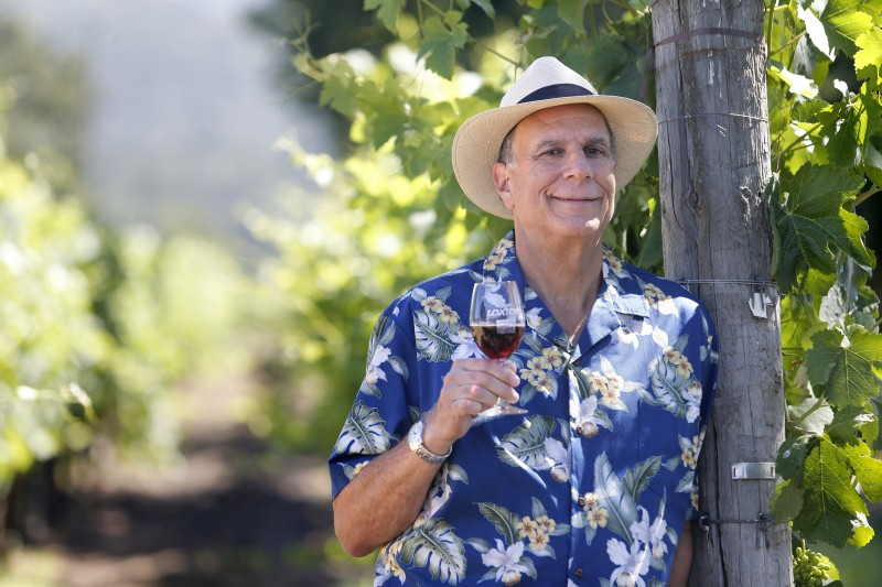 "Andy Hyman, author of ""Snob Free Wine Tasting Companion"" and tour guide for Platypus Tours Ltd. at Loxton Cellars on Wednesday, June 29, 2016 in Glen Ellen, California . (BETH SCHLANKER/ The Press Democrat)"
