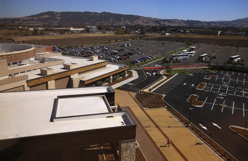 The view from a 2,600 square-foot luxury suite on the top floor of the Graton Resort & Casino's new hotel, in Rohnert Park, on Wednesday, September 28, 2016. (Christopher Chung/ The Press Democrat) Graton Resort & Casino Hotel Expansion Christopher Chung