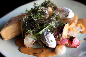 Panisse with roasted vegetables and herbed fromage blanc at Crocodile Restaurant in Petaluma. Heather Irwin/PD