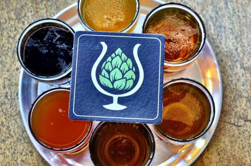 Faction Brewery beer sampler. (Photo by Tim Vallery)