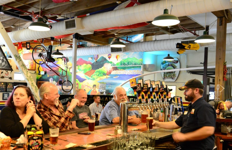 Patrons enjoying pub fare and hand-crafted beers at the Bear Republic Brewpub in Healdsburg. (Photo by Tim Vallery)