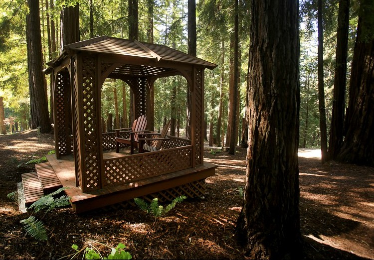 The original Sonoma County home of Charles Schulz, where he raised his children is surrounded by a four hole golf course and redwood trees including a gazebo, Tuesday August 9, 2016. (Kent Porter / Press Democrat)