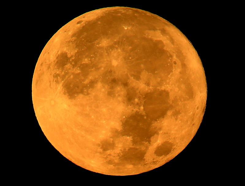 The super moon sets, Monday Nov. 14, 2016, shot from the hills above Alexander Valley. (Kent Porter