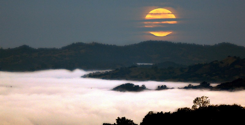 The super moon sets over the hills of Cloverdale as ground fog obscures the view from the Alexander Valley, Monday Nov. 14, 2016. (Photo by Kent Porter)