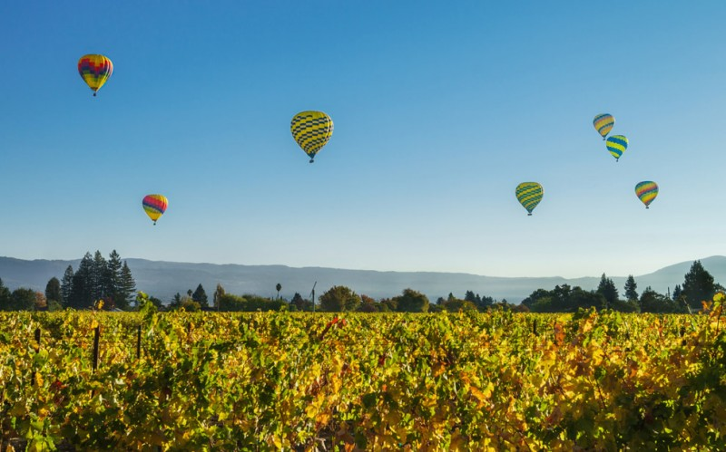 Hot air ballooning over Napa Valley. (Photo courtesy of Auberge du Soleil)