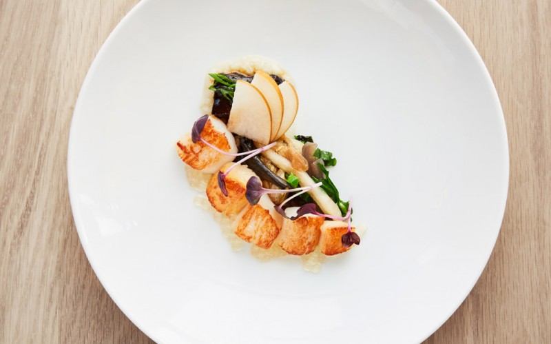 Nantucket Bay Scallops, Pork Belly, Apples, Dashi Tapioca. (Photo courtesy of Auberge du Soleil)