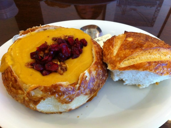 Butternut squash soup in a bread bowl at Boudin Bakery. Courtesy Yelp