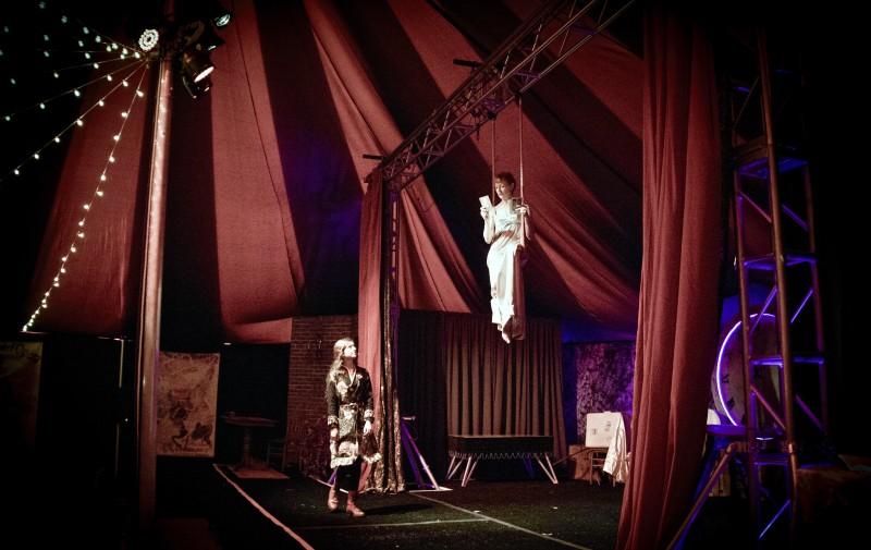 """Luna Michelis (left) and Abigail Munn during the 2015 Cirque de Bohème show """"Stolen Moonlight."""""""