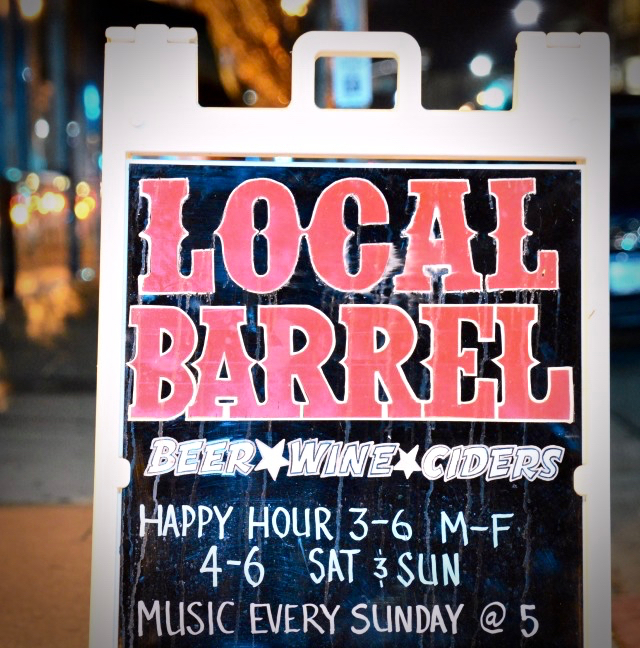 "Local Barrel- ""what's happening now"" board. (Photo by Tim Vallery)"
