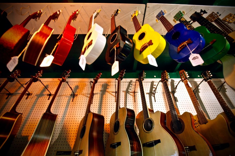 A variety of guitars on display at Tall Toad Music on Wednesday, April 20, 2011, in Petaluma, California. (BETH SCHLANKER/ The Press Democrat)