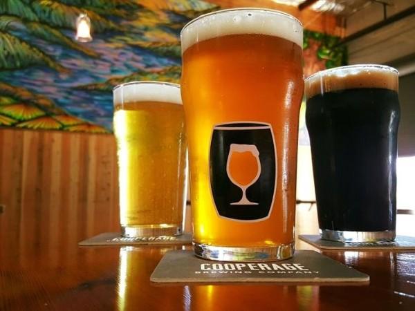 Three beer glasses filled with Cooperage beer