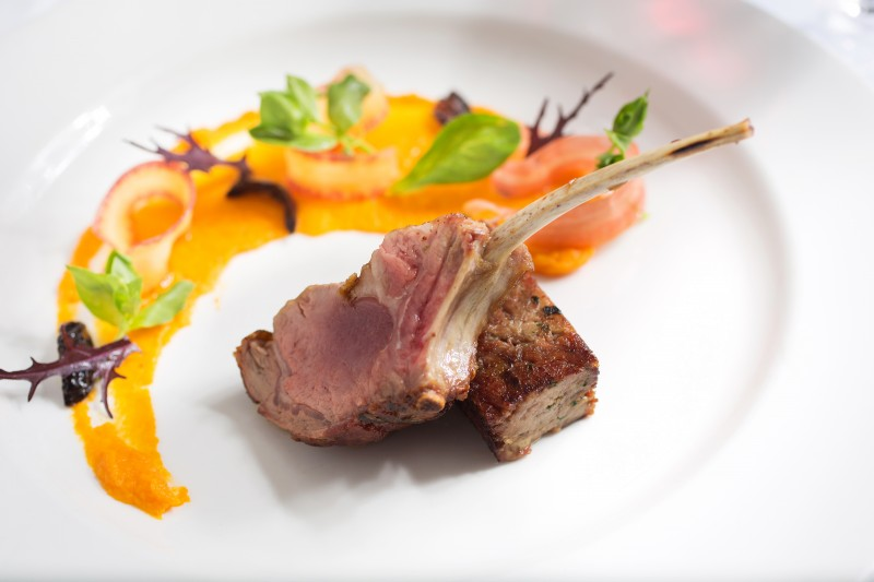 Ranch goat with, mustard crusted braised shoulder sun choke carrot ...
