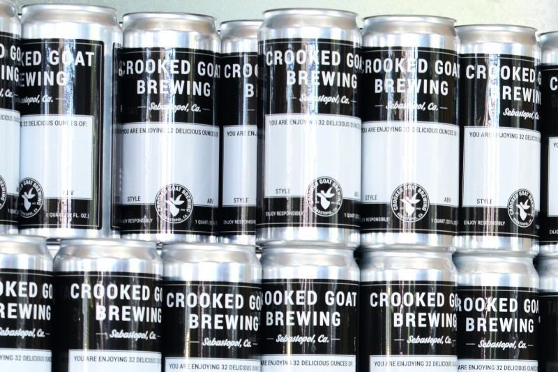The crowlers at Crooked Goat Brewing. A 32 ounce can. (Photo by Tim Vallery)