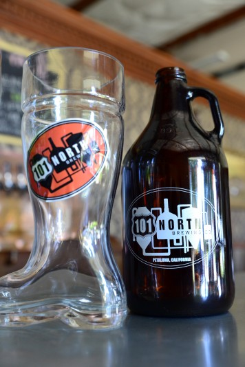 The growler and boot club glass at the taproom at 101 North Brewery. (Photo by Tim Vallery)