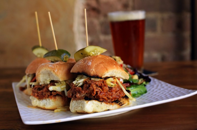 Three Pulled Pork Sliders from chef from chef Gray Rollin at Belly Left Coast Kitchen & Taproom in Santa Rosa. (Photo by John Burgess)